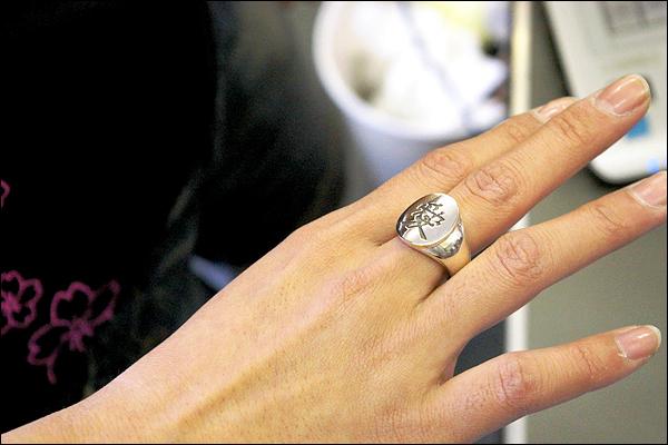 天地人・直江兼続の前立・愛をモチーフにデザインしたリング